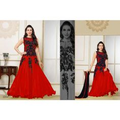 Fabliva New Heavy Designer Red Anarkali Suit