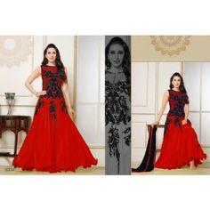 Fabliva New Heavy Designer Red Anarkali Suit