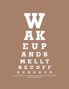 Items similar to 8x10 Print - Mmmmmmmm Coffee - Eye Exam Chart (Brown) on Etsy