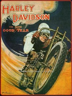 Vintage Harley Davidson Motorcycle V Twin Bike Goodyear Tires Ad Poster Photo | eBay