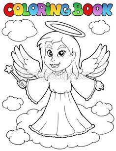 Colorir livro anjo tema imagem 1 — Ilustração de Stock #8154144