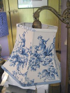 blue toile- lamp shade