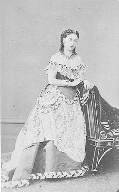 Princess Alice in elaborate gown.Princess Alice wearing an elaborate gown.The gown worn by Princess Alice here shows how the crinoline had become the crinolette and the crinolette had become the bustle. The photo is probably by Disderi. Reine Victoria, Victoria Reign, Queen Victoria Family, Princess Victoria, Historical Costume, Historical Clothing, Queen Victoria's Daughters, 1800s Dresses, 1870s Fashion