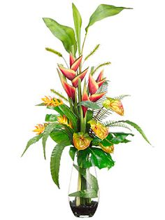 "Traditional yet contemporary   WF1450-RE/GR    44""Hx20""Wx29""L Heliconia/ Anthurium/Foxtail in Glass Vase Red Green"