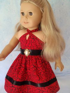 American Girl Doll 18 Inch Doll Clothes Adorable Halter Dress Retro Style Fun Party Dress