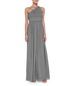 One-Shoulder Chiffon Gown, Sterling by Donna Morgan at Neiman Marcus.