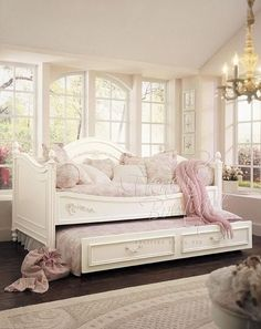 shabby chic daybed bedding | Princess Daybed (Full timber or rattan combi, Price including Trundler ...