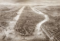 Manhattan, New York City. Includes numbered key to prominent places and features 1867. NY0056 Vintage Reproduction Poster Map Print