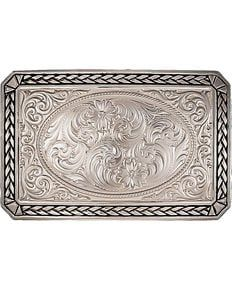 Montana Silversmiths Antiqued Wheat Trim Rectangle Buckle, Silver