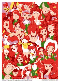 jerrodmaruyama: amymebberson: Redheads! My new Acme Archives silkscreen, which will debut at the D23 Expo Dream Store August 9-11. Details to come! Beautiful work from Amy Mebberson. Love this!