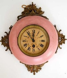 ❥ Antique French Clock in pink and old brass - Pretty! Old Clocks, Antique Clocks, Vintage Clocks, French Antiques, Vintage Antiques, Vintage Items, Pink Love, Pretty In Pink, French Clock