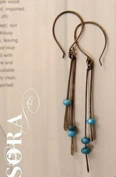 blue agates, oxidized sterling silver hammered earrings: