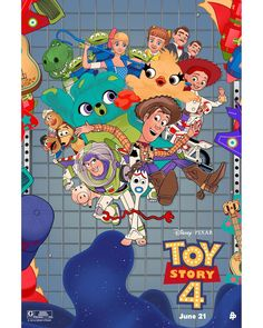Toy Story 4 by Vincent Aseo - Home of the Alternative Movie Poster -AMP- Toy Story 3, Toy Story Party, Cartoon Posters, Disney Posters, Film Posters, Wallpaper Iphone Disney, Cartoon Wallpaper, Pixar Movies, Disney Movies
