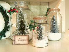 Mini Snowy Pine Trees in Mason Jars