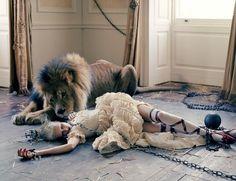 """saloandseverine: Love Magazine September 2013, Atlas the Lion Edie Campbell by Tim Walker """