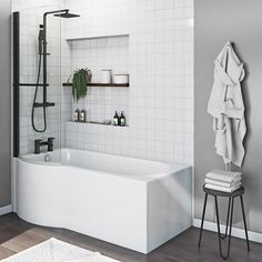 Orchard P shaped left handed shower bath with matt black shower screen 1500 x 850 Bathroom With Shower And Bath, Bath Shower Screens, Shower Over Bath, Bathroom Bath, Bathroom Layout, Bathroom Interior Design, Shower Tub, Family Bathroom, Small Bathroom Ideas