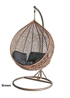Dirty Pro Tools™ Brown Colour Rattan Swing Chair Outdoor Garden Patio  Hanging Wicker Weave Furniture
