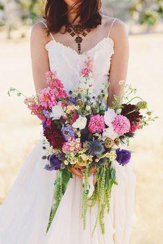 drooping wildflower bouquet  Midsummer Daydream Wedding Inspiration