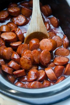 Smoked sausage combined with a sweet, tangy BBQ sauce mixture that stays warm in the Crock-Pot for the duration of your game day party. A classic party snack and a sure-fire crowd pleaser. ~ http://www.fromvalerieskitchen.com/wordpress
