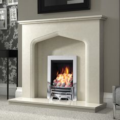 Verdena Micro Marble Surround - Shown in Manila micro marble with a Be Modern Mayfair Chrome gas fire