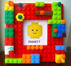 Cute Lego picture Frame idea. Would be an easy DIY project, probably easy enough for the kids to help make.