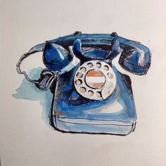 Image result for old telephone watercolor
