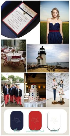 blue and red wedding inspiration board, Nantucket wedding inspiration, nautical wedding inspiration, red and blue wedding ideas, beach weddi. Wedding 2015, Wedding Suits, Wedding Themes, Blue Wedding, Wedding Colors, Wedding Decorations, Wedding Day, Wedding Dress, Beach Invitations