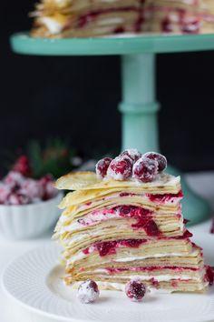 Cranberry Hazelnut Crepe Cake ~ http://blahnikbaker.com