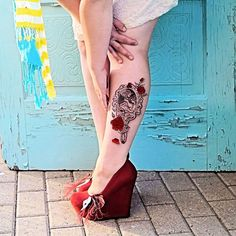 Our sweet beauty and the beast tattoo is taking the camera by storm! And those shoes! Shut up and take my money!  Siideways.etsy.com  #beautyandthebeast #beautyandthebeasttattoo #disney #disneytattoo #red #rose #rosetattoo #illustration #redskirt #etsyfashion #etsyfashionhunter #etsyfavorites #tattoo #tattoosim #tattooist #tat #tatty #disneytattoos #largetattoo #etsyfashion #disneyfandom #geektattoo #siideways