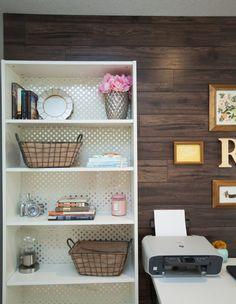 Wallpaper inside bookcase