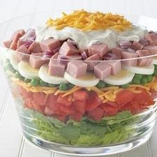 EASY LAYERED SALAD  4c greens, 2c chpd tomatoes, 8oz shredded Cheddar divided, 1c peas, 3 hard cooked eggs sliced, 2c cubed meat, 1/2c chpd red onion,  Dressing 1/2c mayo, 1/2c sour cream, 1t dill weed, 1/2t dry mustard.  Make in your Trifle Bowl # 2832, $40 www.pamperedchef.biz/kimdeetman