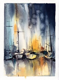 Sailboats Painting, Original Watercolor Painting, Nautical Watercolour Art by CanotStop on Etsy