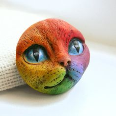 Rainbow Cat Art Doll Face Cab Kitty Animal Pet door graphixoutpost, $13.00