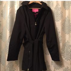 Betsey Johnson 3x coat Black coat with pink piping on inside. Zipper detail at sleeve. Full zip with self belt at waist. Bought on posh, stated worn once by previous posher, I only tried on. Fits true to size, just never have a choice to wear it Betsey Johnson Jackets & Coats Trench Coats