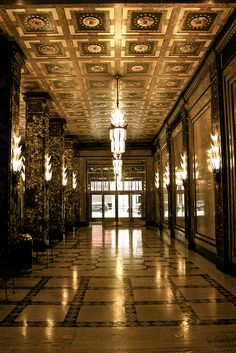 Inside the Fisher Building located in mid-town Detroit. I go to a knit-in on Friday nights at City Knits located inside.