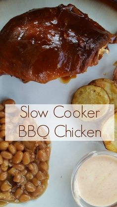 Slow Cooker BBQ Chicken My family and I love BBQ Chicken and yours will too with this EASY recipe from Having Fun Saving and Cooking.