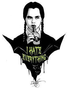 """Wednesday Addams"" - Art Illustration by Los Addams, Dark Side, I Hate Everything, Wednesday Addams, Arte Horror, Illustration, Psychobilly, My Spirit Animal, Beetlejuice"