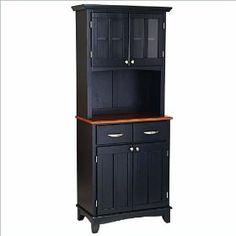 Home Styles 29.25x16x72-in.. Black Buffet Server w/ Cabinet Hutch, Oak Wood Top. $433.95