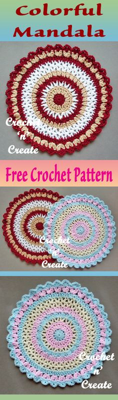 Free crochet pattern for colorful mandala. #crochet