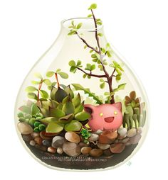 Digital painting showing a terrarium including the grass-type Pokemon Hoppip. By circus-usagi.deviantart.com on @deviantart