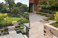 Beautiful definition of circular lawn by pathon one half and low hedging on the other (Garden Builders, UK).