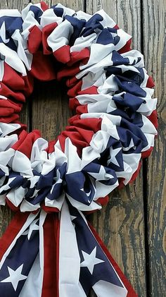 Patriotic, Memorial Day, Veterans day or 4th of July wreath made with bunting on a wire wreath form.
