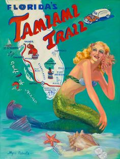 Florida's Tamiami Trail Retro-look art by Myra Roberts