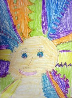 Avery2183's art on Artsonia.  Crazy hair day using lines.  1st grade.