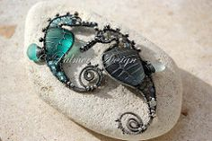 Gray and Teal-Turquoise seahorse pendants.