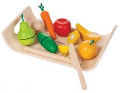 Plan Toys assorted fruit set is perfect for playing kitchens or shops. Chop the wooden fruit and veg and stick them back together with velcro - never ending fun! Fruits And Vegetables, Toys For Little Kids, Kids Toys, Baby Toys, Baby Play, Plan Toys, Thing 1, Toy Kitchen, Children Toys