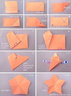 cut crease tutorial step by step how to make a pentagon or a star from a square piece of paper. After ing the folding instructions cut straight across the top of the line, made by the paper, or cut on a slope to make the star Instruções Origami, Paper Crafts Origami, Origami Stars, Diy Paper, Paper Crafting, Dollar Origami, Origami Fish, Origami Bookmark, Star Diy