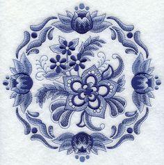 Delft blue floral circle machine embroidery design.