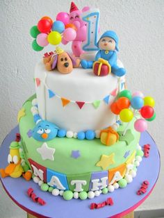 Back Pocoyo Cake Baby Cakes, Baby Birthday Cakes, Birthday Ideas, Cake Pocoyo, Sugar Craft, Occasion Cakes, Cakes For Boys, Cute Cakes, Fondant Cakes