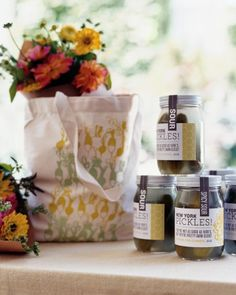 As a token of the couple's appreciation, guests were given farmer's market tote bags and jars of sour or spicy-sour pickles, a local summer favorite and the bride's family staple.